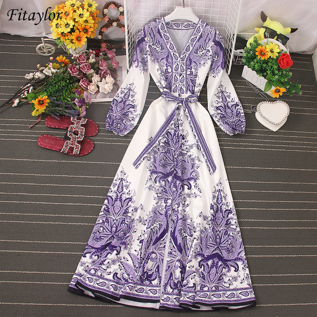 Fitaylor 2021 Spring Women New V Neck Long Sleeve Print Chiffon Lace-up  A-line Dress Casual Waist Slim Vacation Beach Dress 1