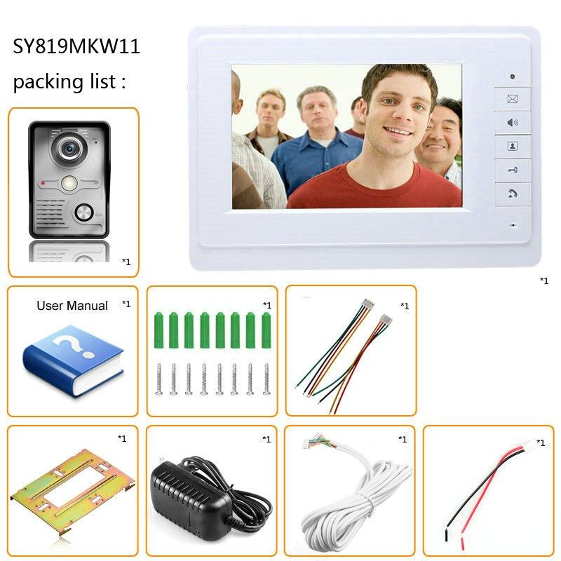 Купить с кэшбэком 7 inch TFT LCD Video Door Phone Visual Video Intercom Speakerphone Intercom System +2 Monitor +1 Waterproof Outdoor IR Camera