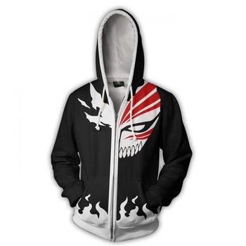 Men and Women Anime Zip Up Hoodies Anime Bleach Hoodie Kurosaki Ichigo 3d Hooded Sweatshirt Cosplay Costumes Harajuku Streetwear