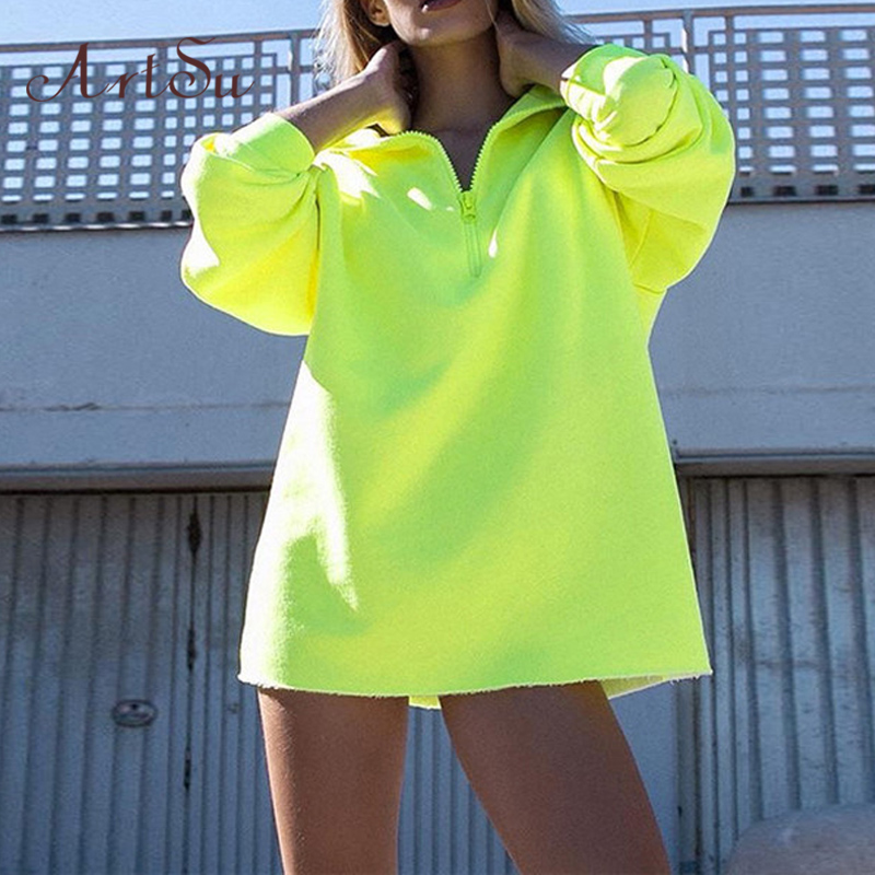 ArtSu Women Streetwear Yellow Neon Hoodie Dress Harajuku Long Sweatshirt Oversize Hoodie Hoody Ladies Autumn ASHO20361