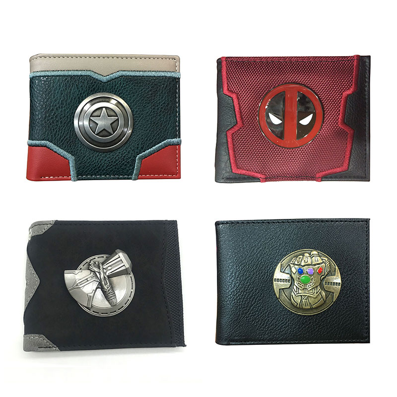 Vintage Metal Logo Purse Captain America Deadpool Thor Infinity Gloves Leather Wallet Creative Gifts Men Women Short Wallets