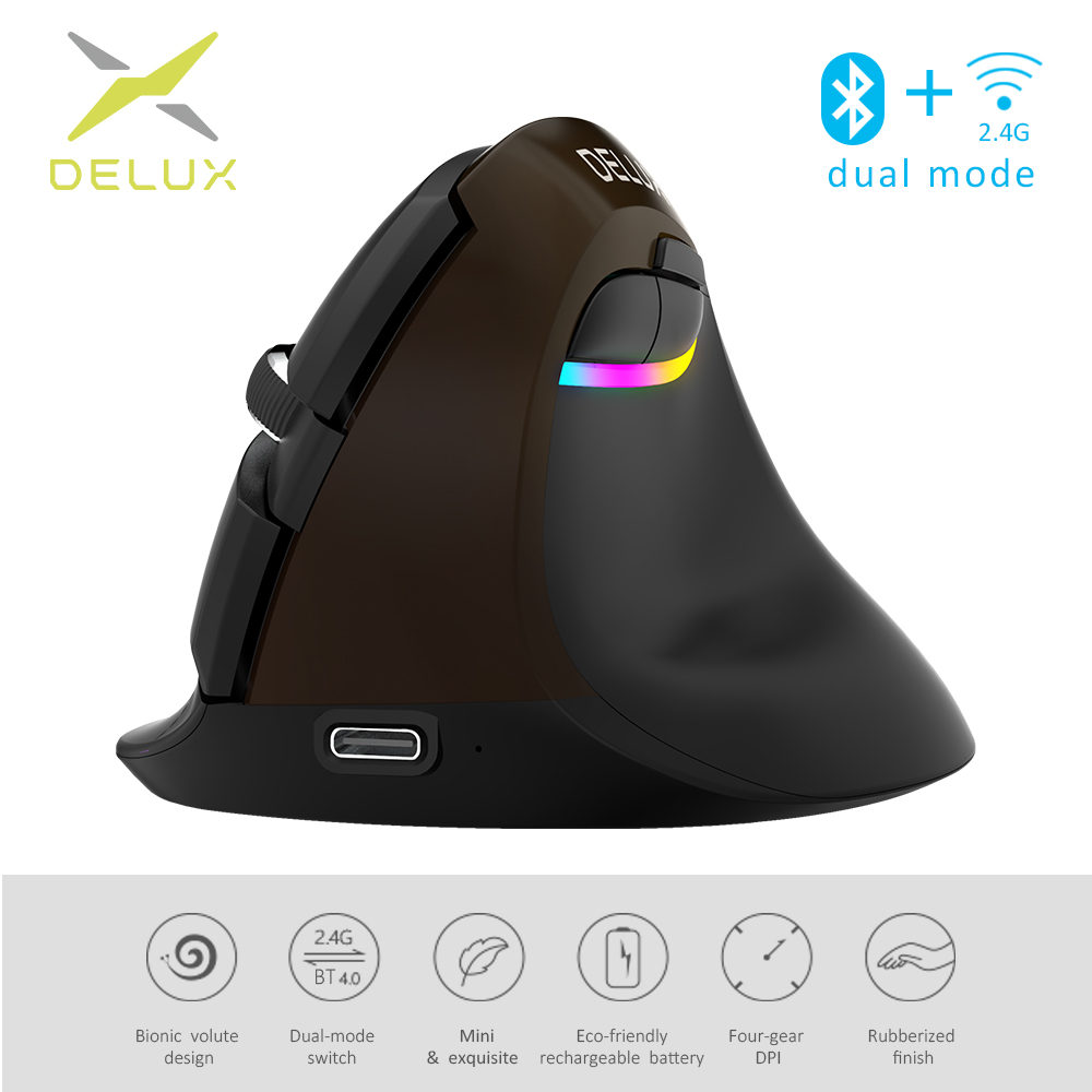 Delux M618 Mini Jet Black Wireless Mouse Bluetooth 4.0+2.4GHz Dual Mode Rechargeable Silent Click Vertical Mice For PC