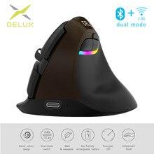 Delux M618 Mini Jet Preto Mouse Sem Fio Bluetooth 4.0 + 2.4GHz dual mode clique Silencioso Recarregável Camundongos Verticais Para PC