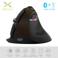 Delux M618 Mini noir de jais souris sans fil Bluetooth 4.0 + 2.4GHz double mode Rechargeable silencieux clic souris verticale pour PC