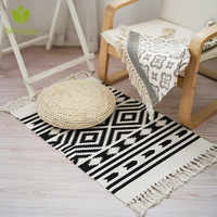 Retro Carpet For Sofa Living Room Bedroom Rug Cotton Tassels Yarn Dyed 60x130cm Table Ruuner Bedspread Tapestry Home Decoration