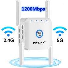 Wifi repetidor 5ghz repetidor wifi 5g wi-fi amplificador 1200mbps wi fi extensor de longa distância roteador wi-fi impulsionador 4 antena 5g 2.4g