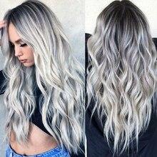 Toutbeau perruque longue ondulée grise argent ombré, perruque pour Cosplay Halloween avec raie centrale pour femmes