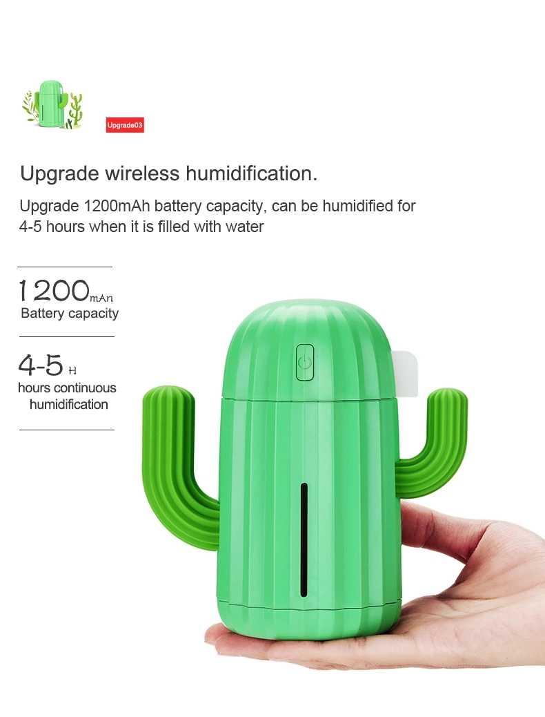 340ML wireles Kaktus Luftbefeuchter Batterie Bedienen Wiederaufladbare USB Aroma Ätherisches Öl Diffusor Warme Licht Kaktus Luftreiniger