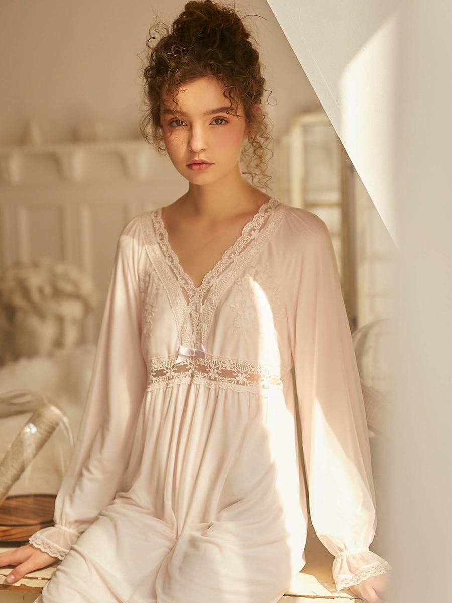 Nightgown Women Lace Long sleeve Nightgown Elegant Sleepwear Dress For Women Nightdress Red Pink White