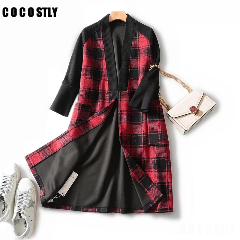 Women Autumn Winter Casual Open Stitch Coat Fashion Plaid Long Female Loose Office Lady Outwear XXL