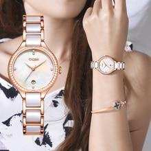 Luxury Brand Geneva Clock Dress Watchband Wrist-Watches Quartz Ceramics Diamonds Fashion Women