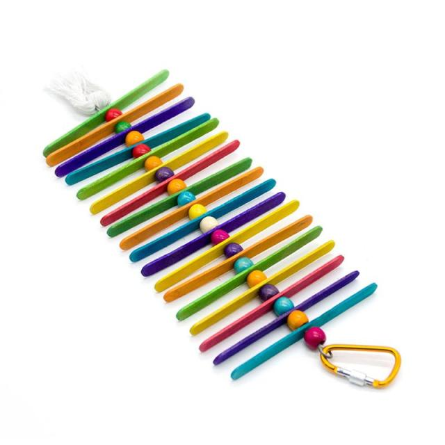 Colorful Ladder Bird Toy Cage Accessories Flexible Bite String Ladders Wooden Rainbow Bridge for Parrots Trainning