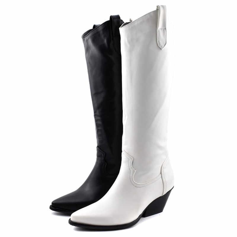 Moda kabartmalı mikrofiber deri kadın Orta çizmeler sivri burun batı kovboy çizmeleri kadın orta buzağı tıknaz takozlar pist