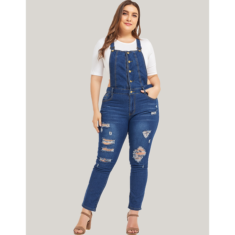 Plus Size Women Jumpsuits Denim Blue Strap Ladies 5XL Jean Bodysuits Overalls Large Size Female Bib Pants Body Jeans Rompers D40