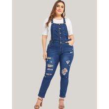 цена на Plus Size Women Jumpsuits Denim Blue Strap Ladies 5XL Jean Bodysuits Overalls Large Size Female Bib Pants Body Jeans Rompers D40
