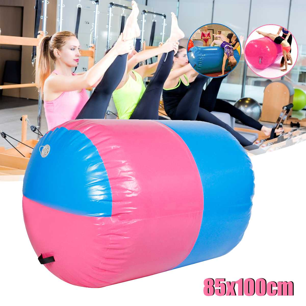 100x85cm Inflatable Airtrack Air Mat Home Roller Small Airtrack Gymnastics Mat Cylinder Gym Training Sport Fitness Air Barrel
