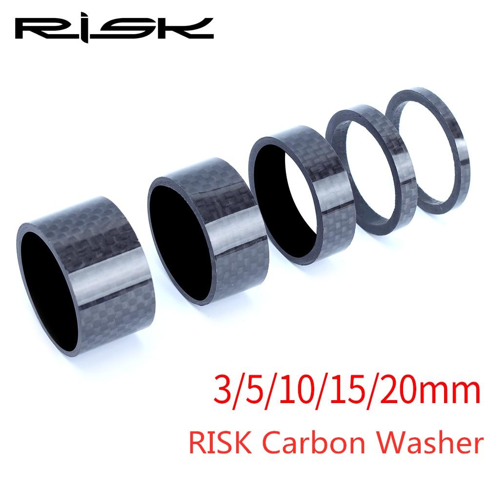 RISK Carbon Fiber Headset Fork Spacers Kit Handlebar Washer Ring Gasket Front Fork MTB Bicycle Bike Stem Road Bike Lightweigh