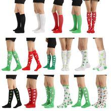 Women Men Ribbed Knit Cotton Knee High Socks Rainbow Clover Print Sport Hosiery ribbed knit sweatshirt