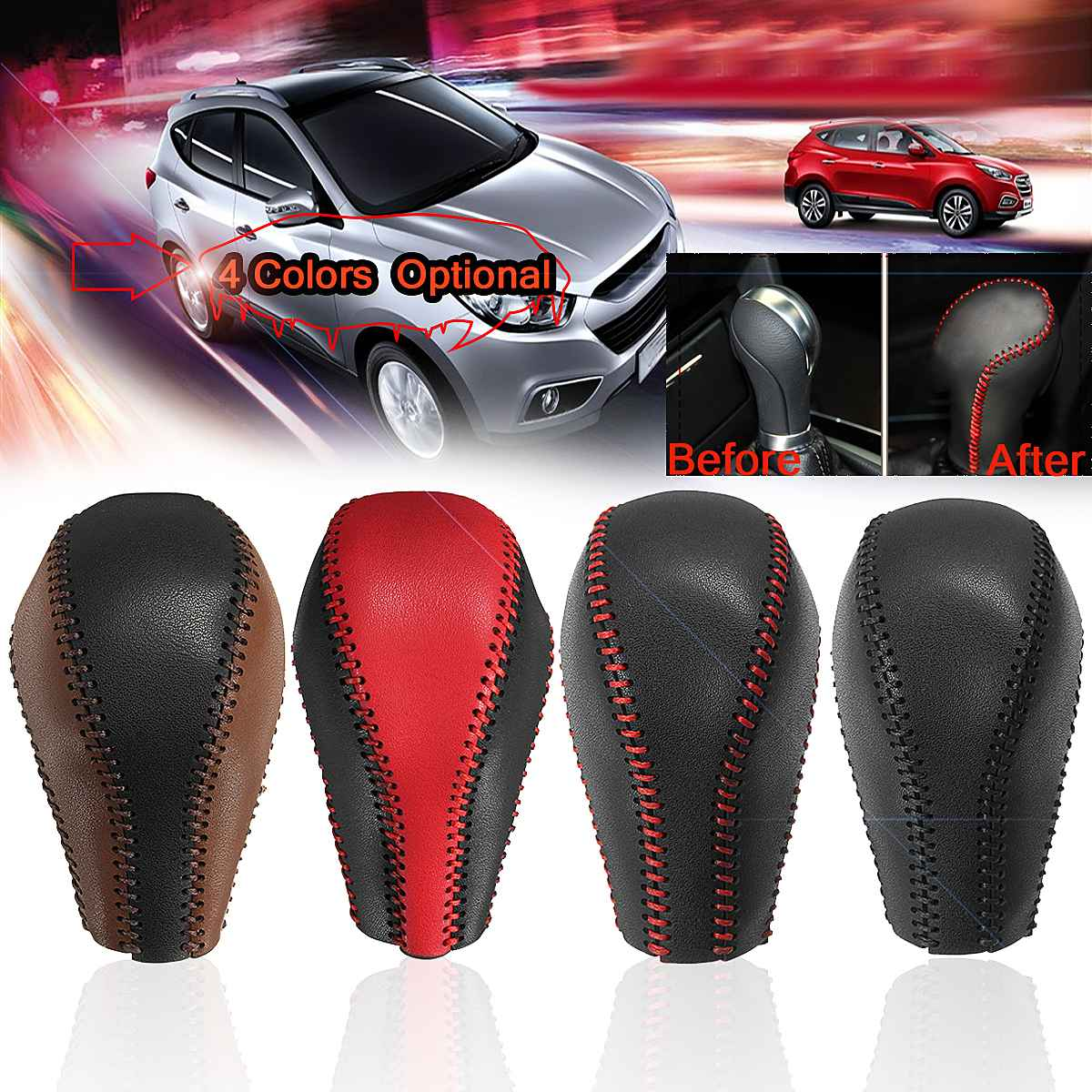 Car Gear Shift Knob Handle Cover PU Leather Auto Styling Interior <font><b>Accessories</b></font> For <font><b>Infiniti</b></font> QX50 QX70 <font><b>QX80</b></font> EX FX image