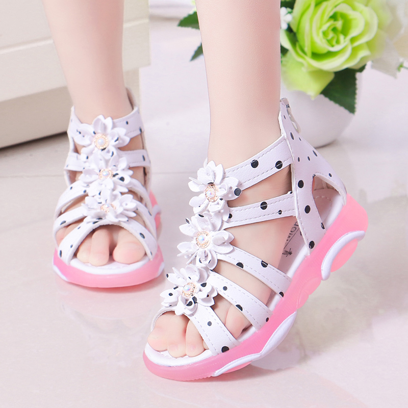 Princess Floral Sandals For Girls Little Big Kids Roman Sandals Children Gladiator Beach Sandals With Pearls Sweet Soft 21-36