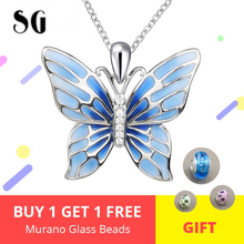 Authentic 100% 925 Sterling Silver Blue Butterfly Pendant Necklace Fashion Jewelry Women Animal Necklaces Gift For Friends edell 100% 925 sterling silver bar pendant necklaces for men women genuine ribbon tiff necklace fashion jewelry gift