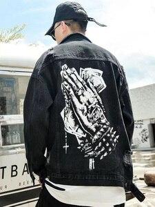 Image 5 - Harajukuมือพิมพ์หลุมChaqueta Hombre Streetwearกางเกงยีนส์ชายเสื้อLapel Hip Hopเสื้อกันหนาวDenim Bomberแจ็คเก็ตหลวม