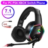 7.1 RGB LED Gaming Headset For PC PS4 PS5 Over Ear Gamer Headphones with Microphone Noise Canceling Computer Phone Gaming Helmet 1
