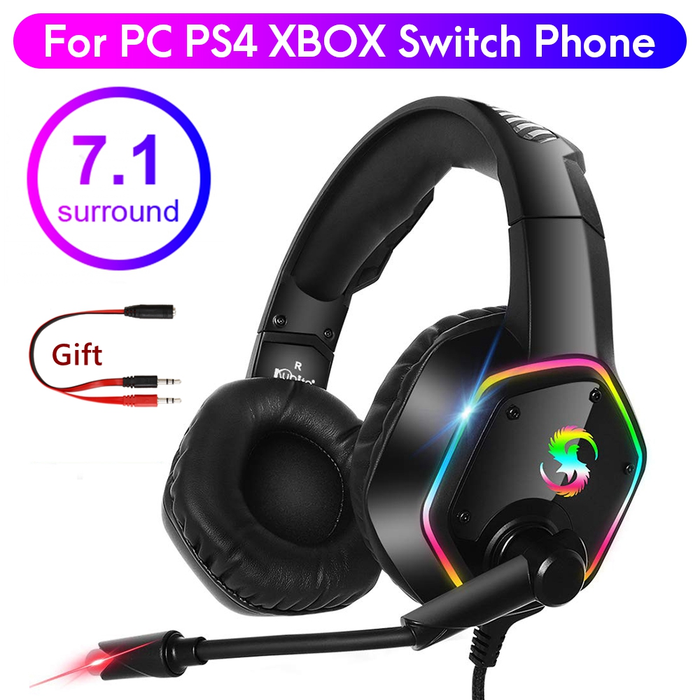 7 1 Stereo LED Gaming Headset For PS4 XBOX Gamer Headphone with Mic Noise Cancel Kid Audifonos PC Computer Over Ear Music Helmet