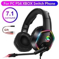 Audifonos gamers con micrófono 7.1 estéreo RGB, Cascos Gaming Para PC Playstation 4 Xbox, Auriculares Gamer para videojuegos, cancelación de ruido para PC, PS4, PS5