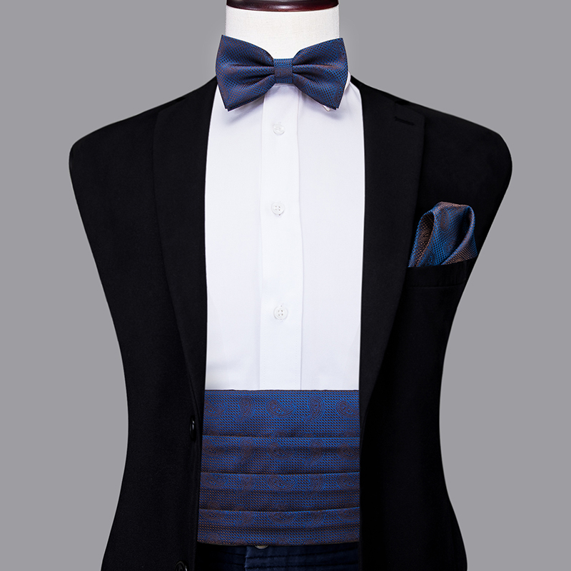 YF-2014 Hi-Tie Luxury Silk Men's Formal Wedding Party Floral Cummerbund Bow Tie Hanky Cufflinks Set Tuxedo Blue Cummerbunds