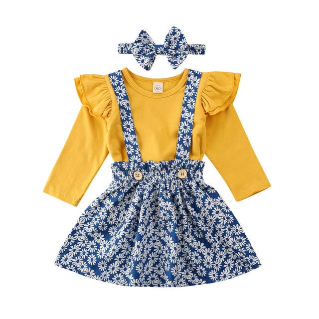 Toddler Baby Girl Suspender Skirt Sets Short Sleeve Ruffled Tops+Floral Dress+Headband Clothes