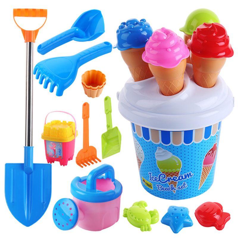 Beach Toys Set Ice Cream And Cake Series Sand Mould Set,13 Piece Toys  Set R7RB