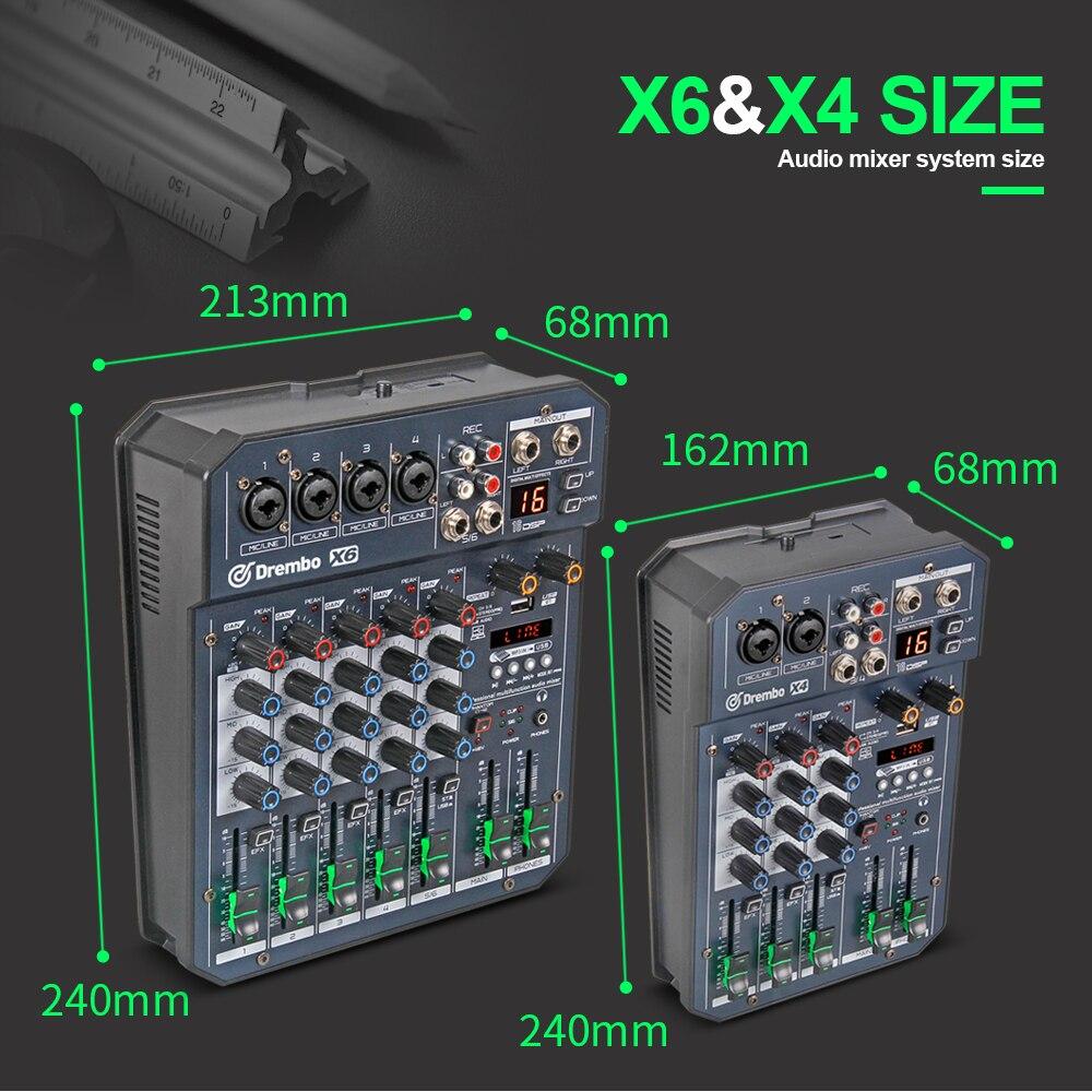 Console de mixage audio numérique portable professionnel X4/6 canaux avec carte son à effet DSP, bluetooth, USB, pour enregistrement DJ PC - 6