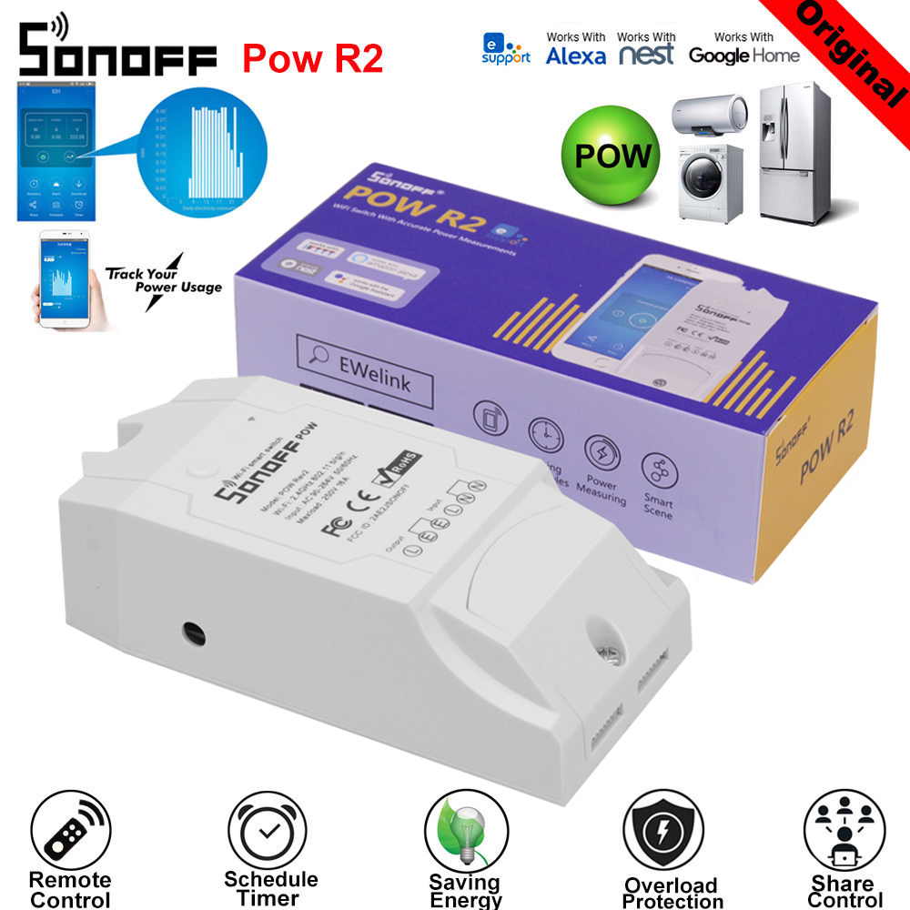 Sonoff POW R2 WiFi Smart Wireless Switch 16A 90-250V AC With Real Time Power Consumption Measurement Work With Alexa Google Home