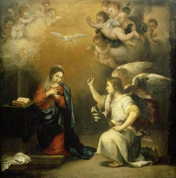 Bartolome Esteban Murillo Annunciation Art Print Poster oil paintings canvas For Home Decor Wall Art image