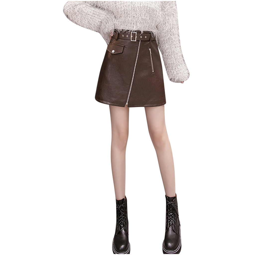 Zipper Leather Skirts High Waist Personalized Skirt Summer Spring Above Knee Skirts Solid Color Straight Skirt##5