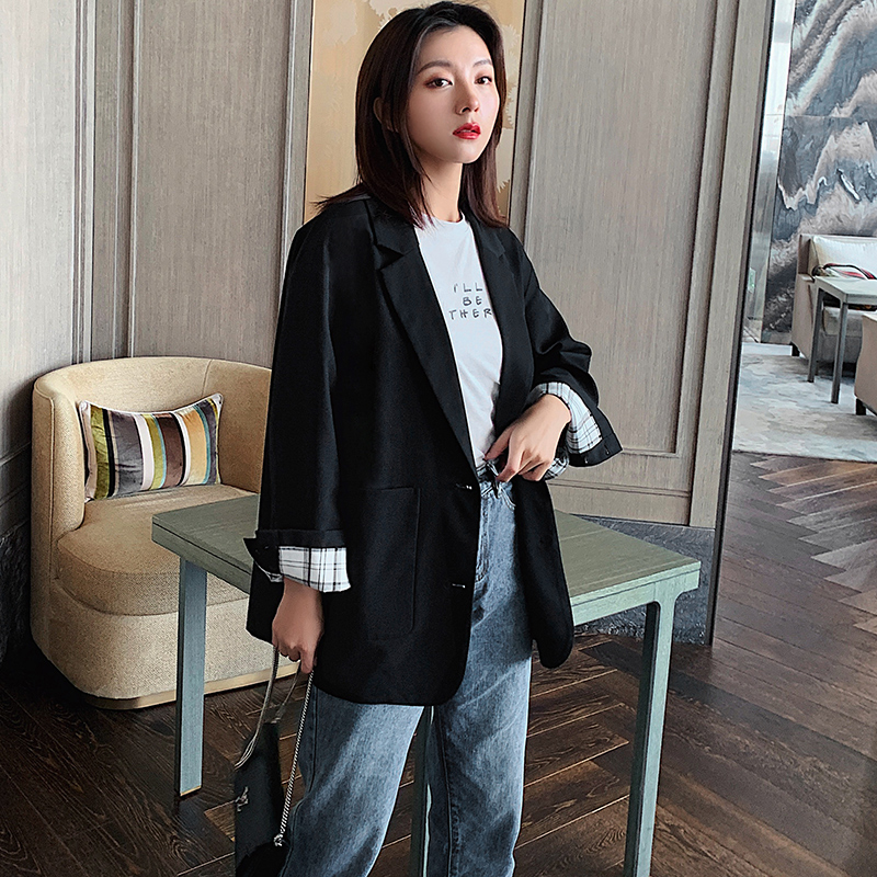 Retro Casual Ladies Blazer Loose Stylish Solid Black Simple Suit Jacket Long Sleeve Blezer Feminino Autumn Women Jacket MM60NXZ