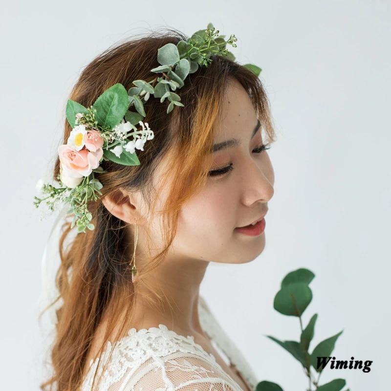 Womens Floral Hairband Roses Girls Headband Wedding Prop Garland Hair Accessory