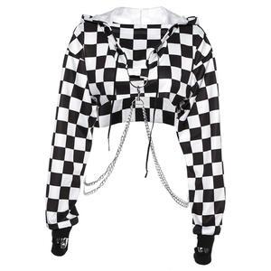 Loose Sweatshirt Pullover Hoodie-Crop-Top-Jumper Stitching Plaid Streetwear Women Short