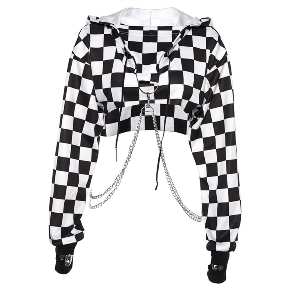 Women Plaid Casual Streetwear Sweatshirt Hoodie Crop Top Jumper Pullover Chain Stitching Short Loose Sweatshirt Plaid Shirt