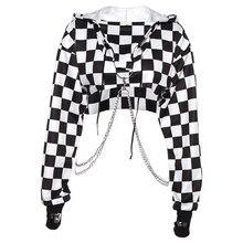 여성 격자 무늬 캐주얼 Streetwear 스웨터 까마귀 자르기 탑 점퍼 풀오버 체인 바느질 짧은 느슨한 운동복 격자 무늬 셔츠