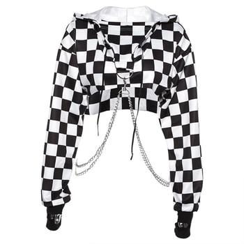 Women Plaid Casual Streetwear Sweatshirt Hoodie Crop Top Jumper Pullover Chain Stitching Short Loose Sweatshirt Plaid Shirt knot back plaid crop top