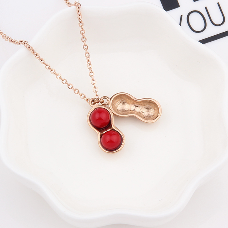 Fashion Women Peanut Rose Gold Silver Color Necklace Elegant Beautiful Necklace Choker Necklace For Women Pendant Jewelry Gift