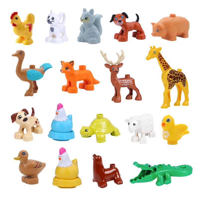 New Animals Building Blocks Toys Duck Hen Reindeer Ostrick Fox Squirrel Bird Compatible With Duploed Animal Parts