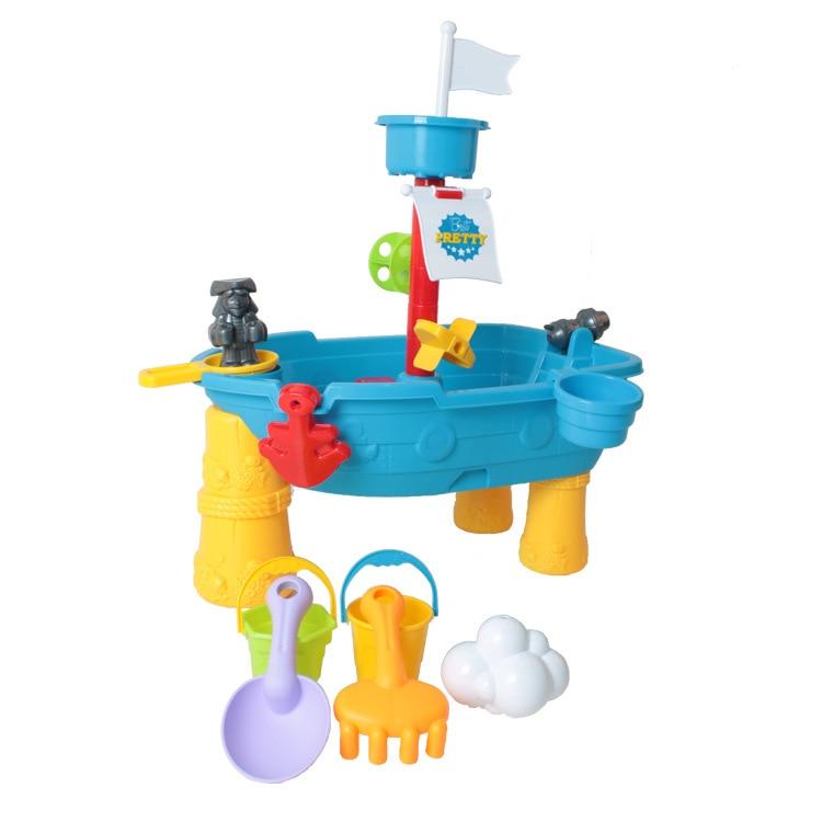 Children Beach Toys Creative Pirate Ship Beach Bucket Seaside Water Sand Game Tools Plastic Beach Toys Set