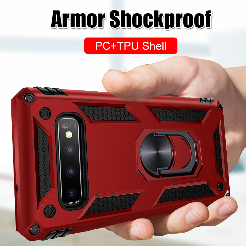 Luxury Car Magnetic Ring Case For Samsung Galaxy S10E S10 5G S8 S9 Plus Shockproof Armor Cover For Samsung Note 8 9 A20 A30 A50(China)