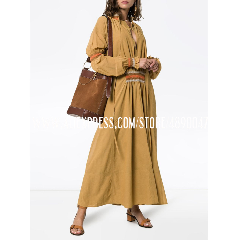 2020 Lady Summer cotton Long dress Beach Skirt Loose Long Sleeve Round Neck A-line Casual Dress Silk lining Two-piece set