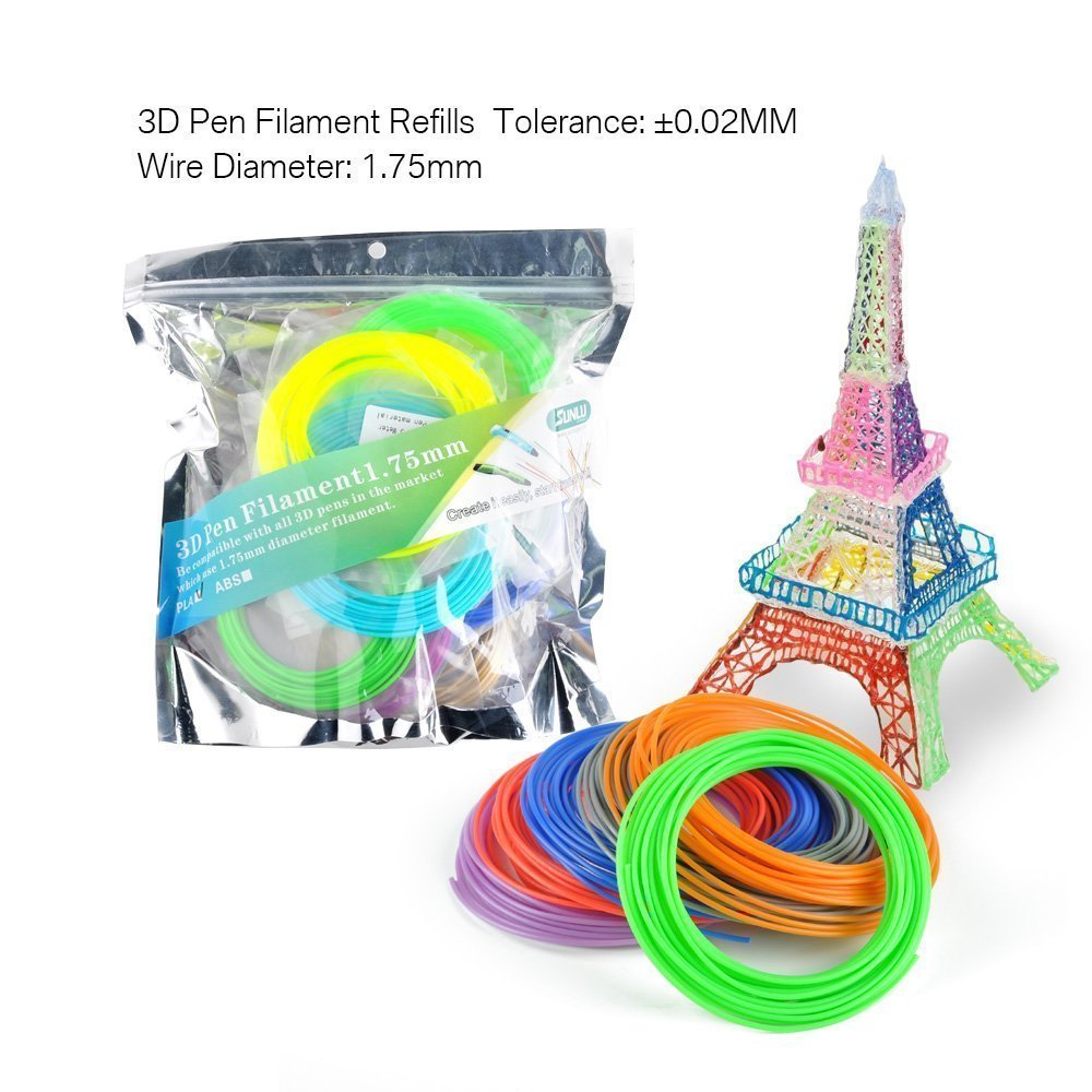 1.75mm filamento do abs do pla do fillament da pena 3d 5m/10m cor aleatória crianças rabiscar ferramentas tolerância +/-0.02mm
