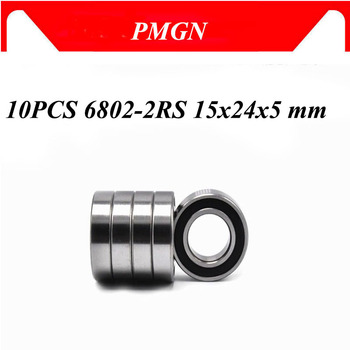 PMGN 10PCS ABEC-5 6802-2RS High quality 6802RS 6802 2RS RS 15x24x5 mm Thin Wall Rubber seal Deep Groove Ball Bearing image