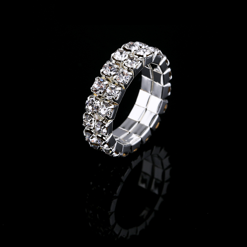 2017 Hot Sale Top Fashion Channel Setting Party Classic Jewelry Anillos Stunning Multi Row Diamante Stretch Rings For Women 2